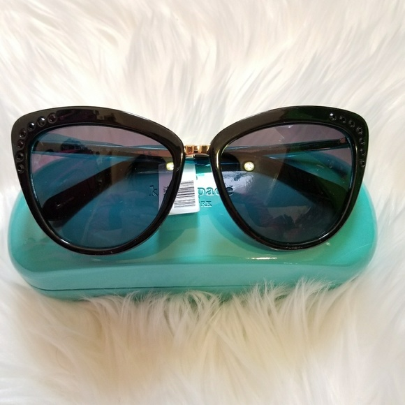 09b41e29efc39 Kate Spade Cissy Cat Eye Crystal Gold Sunglasses